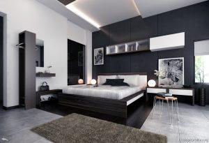 habitación con paredes de color gris